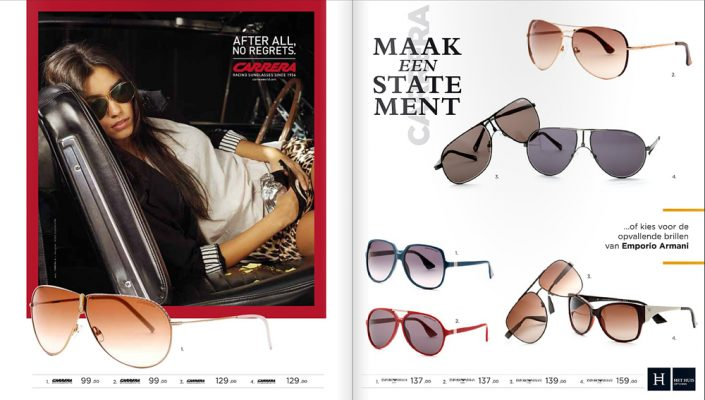zonnebril montuur productfotografie studio Super Rebel brochure drukwerk mode